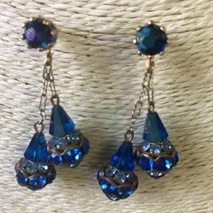 Jewelry - VINTAGE GLASS GLASS CRYSTAL PIERCED EARRINGS